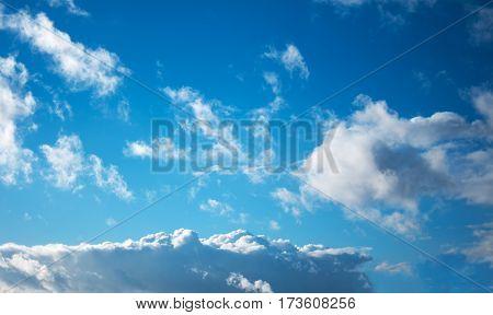 blue sky with cloud closeup in Belarus