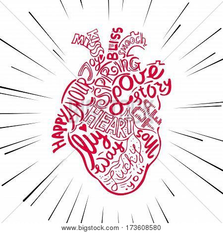 Hand drawing sketch anatomical heart. Lettering doodle vector illustration. Many inspirations in heart shape.