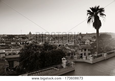 Rome rooftop view with ancient architecture in Italy from park black and white