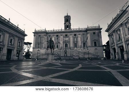 Piazza del Campidoglio with statue of Marcus Aurelius in Rome, Italy.