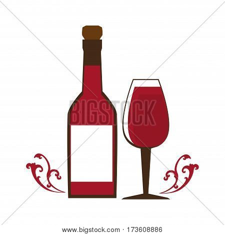 wine bottle with cork and glass cup vector illustration
