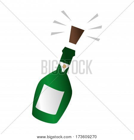 champagne bottle with cork expelled vector illustration