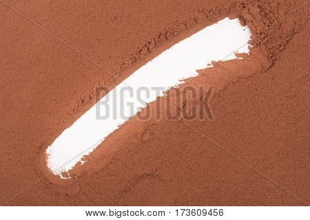 space for inscriptions on the background of cocoa powder.