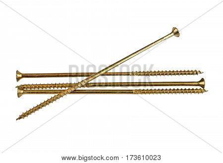 Four eaves-trough screws on a white background
