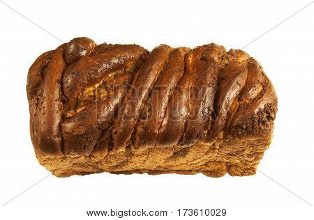 Freshly baked Nusszopf-Nut Loaf on a white background