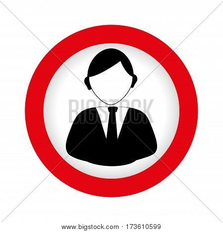 circular emblem with half body man in formal suit vector illustration
