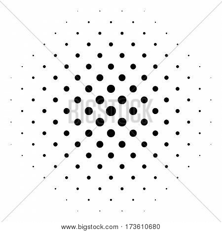 Black abstract halftone circle made of dots in diagonal rrangement on white background. Vector illustration.
