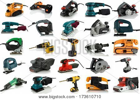set of images of tools on a white background