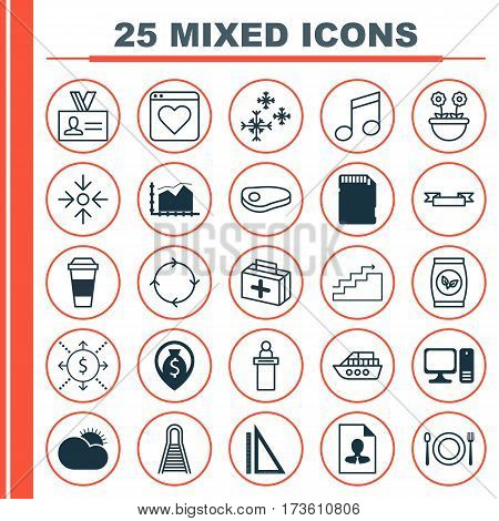 Set Of 25 Universal Editable Icons. Can Be Used For Web, Mobile And App Design. Includes Elements Such As Star Snow, Sunny Weather, Recurring Program And More.