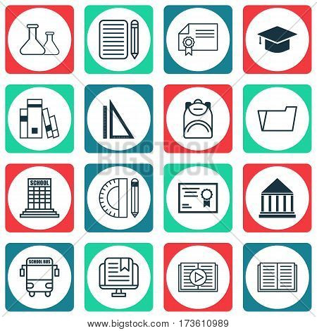 Set Of 16 School Icons. Includes Taped Book, Certificate, Haversack And Other Symbols. Beautiful Design Elements.