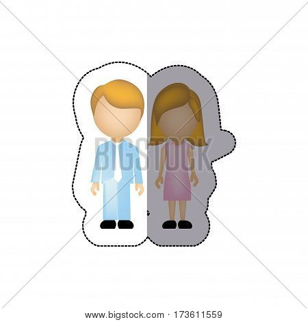 color couple with blond hair icon, vector illustraction design