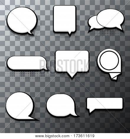 Vector modern halftone bubble speech icon set on transparent background