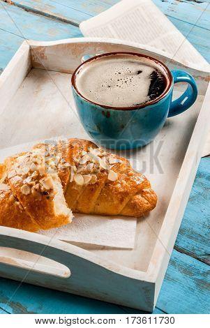 Large Coffee Mug, Croissant And Newspaper