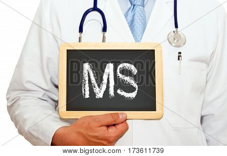MS - Multiple Sclerosis - Doctor with chalkboard