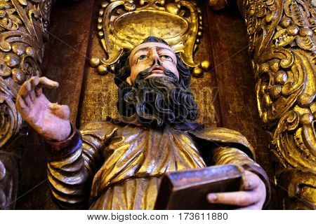 ZAGREB, CROATIA - JUNE 18: Saint Paul, 15th century, from the church of the Queen of the Holy Rosary in Rrmetinec exhibited in the Museum of Arts and Crafts in Zagreb, on June 18, 2015.