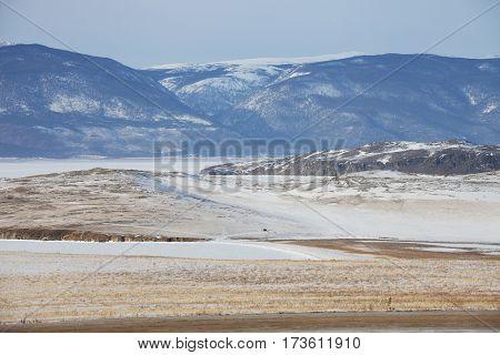 Olkhon Island. Winter Landscape, Baikal Lake