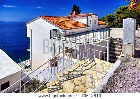The Panorama Adriatic Sea. Dubrovnik town Villa on coast and blue sky. Croatia