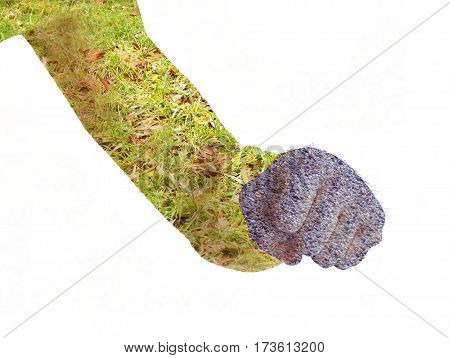 A man shows a fist. Double Exposure.On a white background
