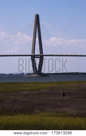 One of the major support uprights of the Arthur Ravenel Jr. Bridge between Charleston and Patriot's point in South Carolina