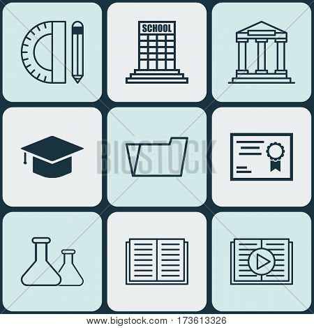 Set Of 9 School Icons. Includes Document Case, Education Tools, Certificate And Other Symbols. Beautiful Design Elements.