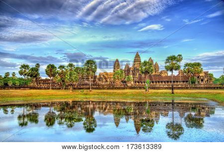 Angkor Wat seen across the lake. A UNESCO world heritage site in Cambodia