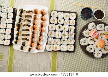 Close Up Of Fresh Sushi Set
