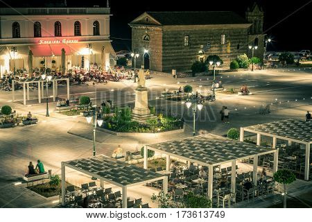 Zakynthos, Greece - SEPTEMBER 2016: Solomos Square at night time