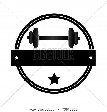 circular border with dumbbell for training in gym and plaque decorative vector illustration