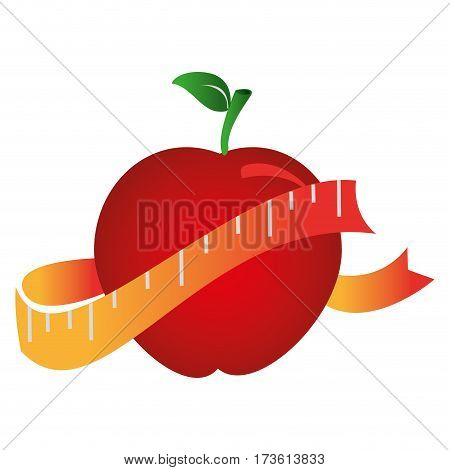 silhouette color with apple and measuring tape vector illustration