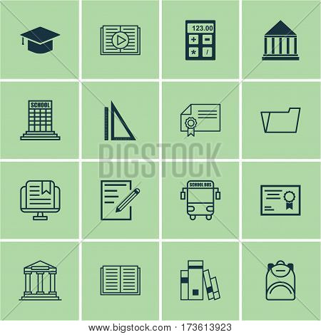 Set Of 16 Education Icons. Includes Graduation, Haversack, Education Center And Other Symbols. Beautiful Design Elements.