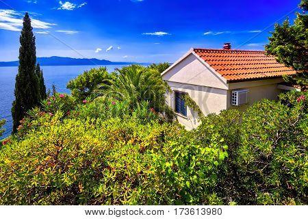 The Adriatic Sea scenic view. Dubrovnik town Villa on coast and blue sky. Croatia.