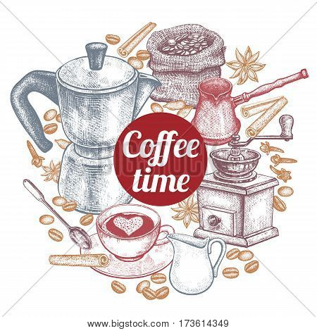 Coffee time. Kitchen implements for cooking coffee. Vintage hand drawing. Coffeepot Turkish cezve coffee-grinder cup milk jug dessert spoon coffee beans spices in a circle.. Vector illustration