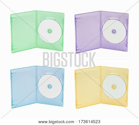 Four multi-color DVD cases on white background