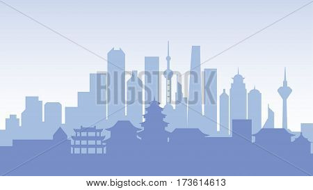 Stock vector illustration background silhouette architecture buildings and monuments town city country travel flyer, printed Chinese Bungalows, China, Beijing, Shanghai, Chinese culture, Chinatown