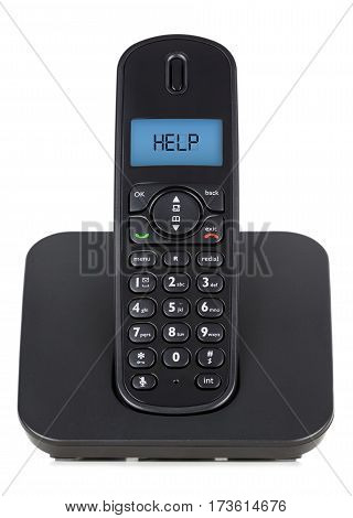 Black cordless phone on white background and help screen