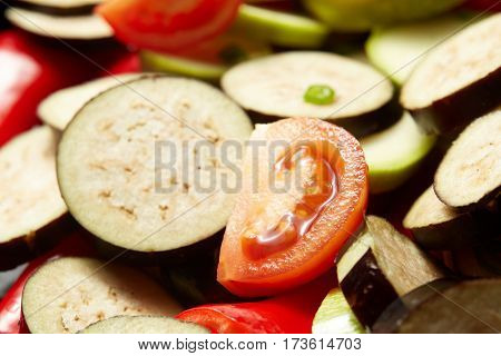 Fresh Raw Vegetables Red Paprika, Eggplant, Vegetable Marrow, Tomato