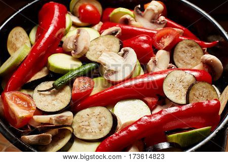 Fresh Raw Vegetables Mushrooms And Red Paprika, Eggplant, Vegetable Marrow, Tomato