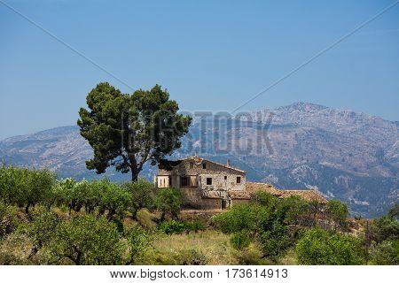 Beautiful landscape background. Lonely old house and tree in the mountains
