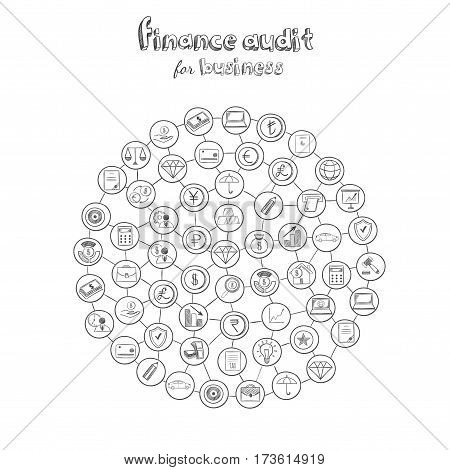 Business audit round composition with financial elements and icons in hand drawn style isolated vector illustration