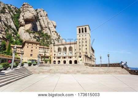 Santa Maria de Montserrat Abbey on the mountain of Montserrat, near Barcelona, Catalonia, Spain.