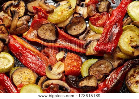 Baked Or Grilled Vegetables Mushrooms And Red Paprika, Eggplant, Vegetable Marrow, Tomato
