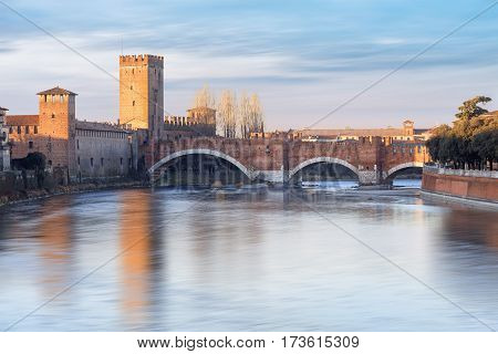 historical quarter of Verona, view from river on Castel Vecchio bridge, Italy