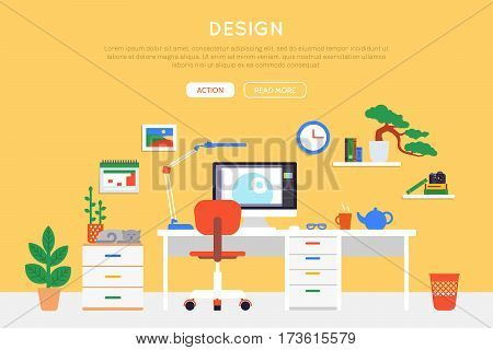 Flat room interior template of designer workplace with furniture equipment and objects vector illustration