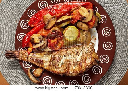 Grilled Fish With Baked Vegetables