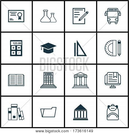 Set Of 16 School Icons. Includes Haversack, Paper, Measurement And Other Symbols. Beautiful Design Elements.