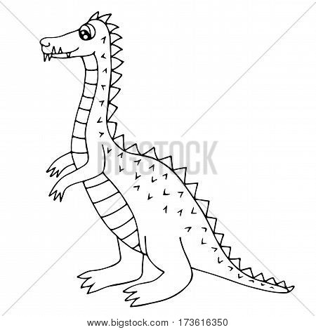 Cute dinosaur or dragon isolated on the white background. For coloring book and other child design.