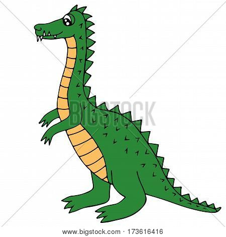 Cute green dinosaur or dragon isolated on the white background. For coloring book and other child design.