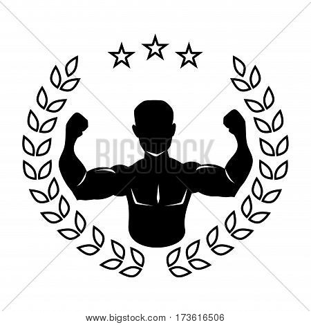 silhouette crown of leaves with black half body muscle man vector illustration