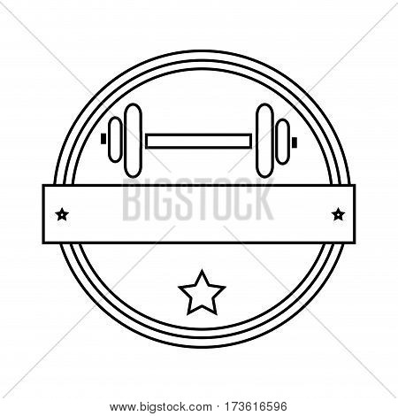 silhouette circular border with dumbbell for training in gym and plaque decorative vector illustration