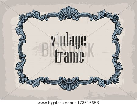 Vector hand drawn vintage frames. Retro style design element postcard banner logo template
